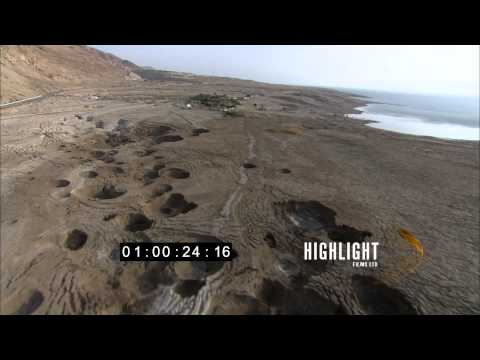 HD Aerial footage of israel: Dead Sea sinkholes