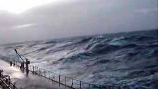 Cargo ship in stormy weather