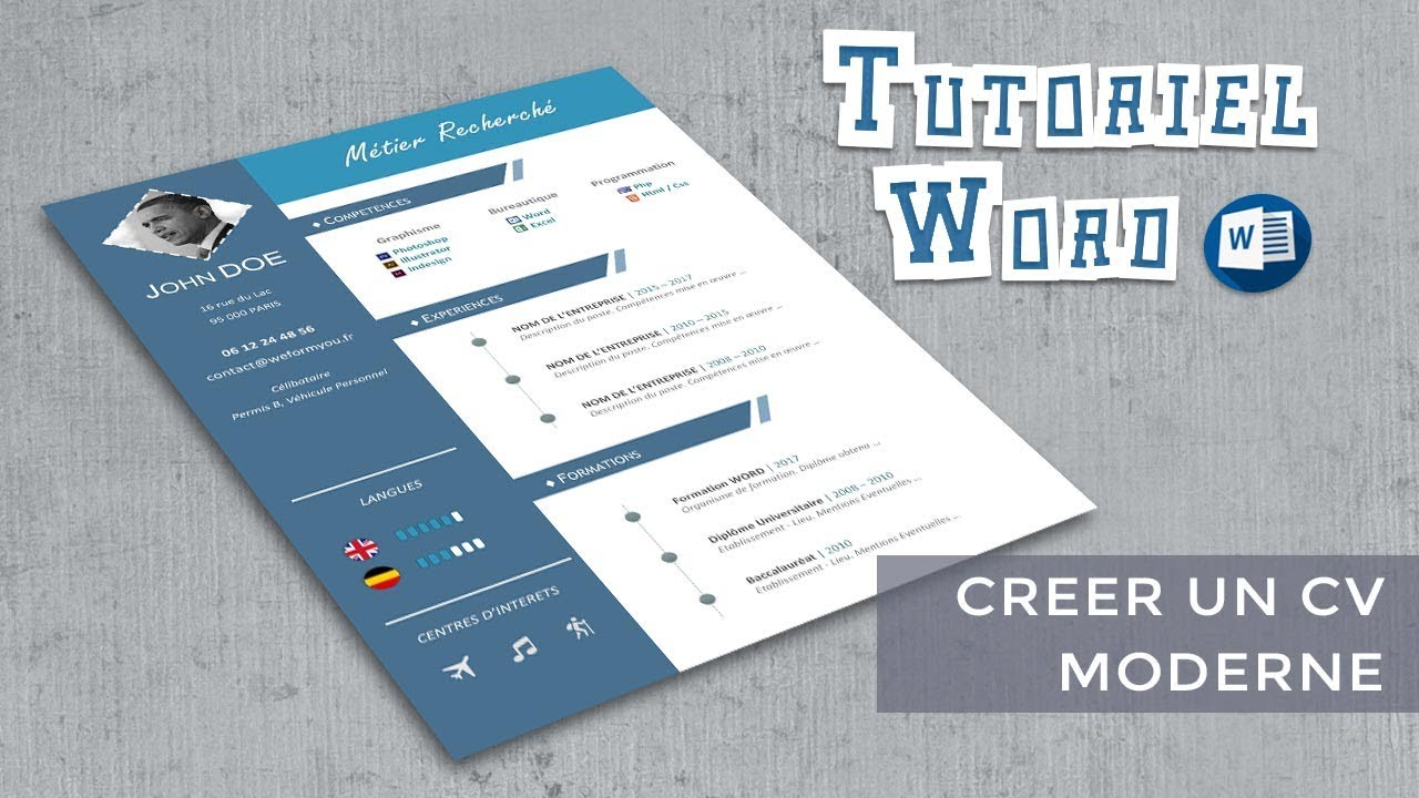 word creer un cv modele