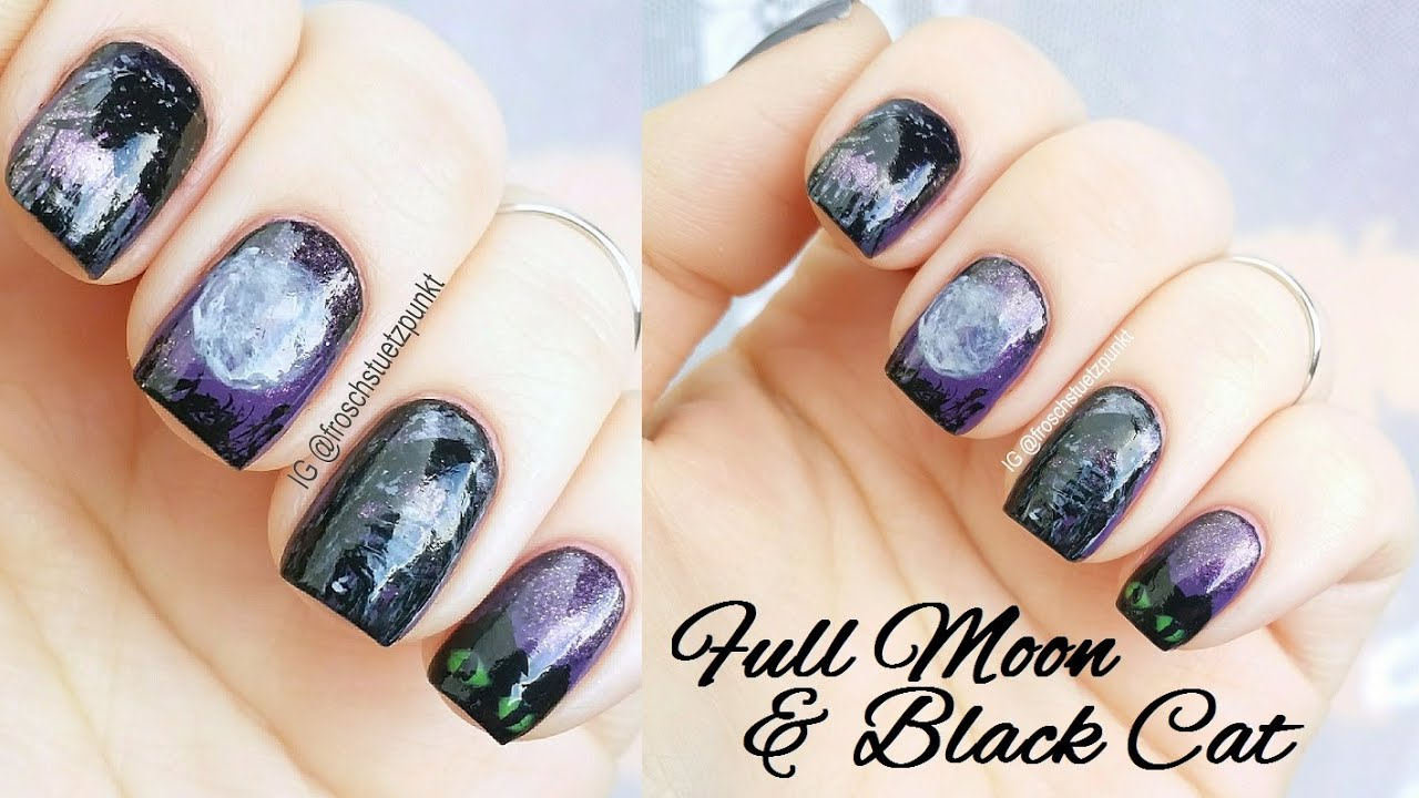Y Nails Full Moon Black Cat Tutorial