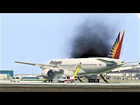 B777 Philippines Airlines Engine Fire Emergency Landing  Los Angeles Airport - [Flight 113]
