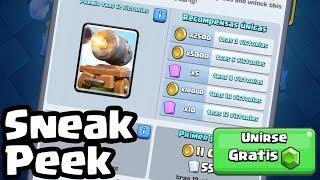 CAÑÓN DE MANO CON RUEDAS. Desafío para conseguir la NUEVA CARTA GRATIS | Sneak Peek | Clash Royale