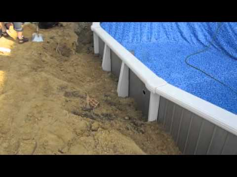 Semi inground swimming pool installation youtube for Pool installation