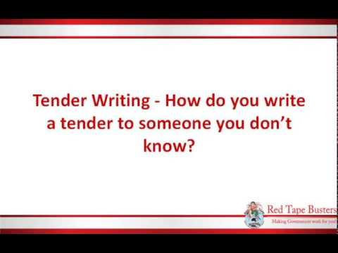Tender Writing - How do you write a tender to someone you don't know