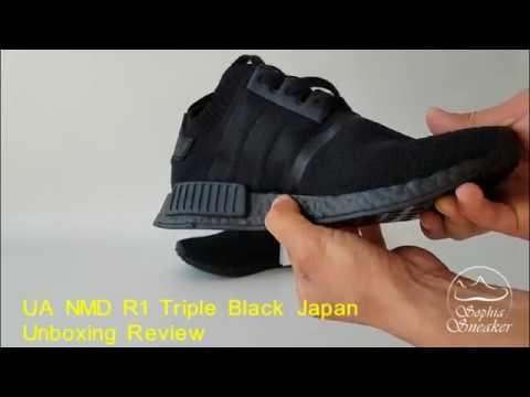 b2937f05b Sophia Sneakers UA NMD R1 Triple Black Japan Unboxing Review - YouTube