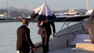 EXCLUSIVE - Toni Garrn and a shy Leonardo DiCaprio arrive at Port Cogolin
