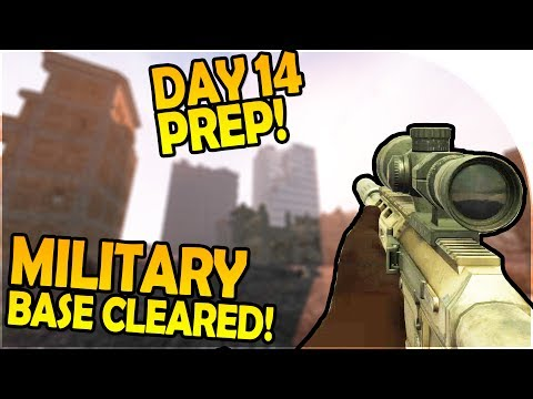 DAY 14 PREP! - MILITARY BASE CLEARED! - 7 Days to Die Alpha 16 Gameplay Part 18