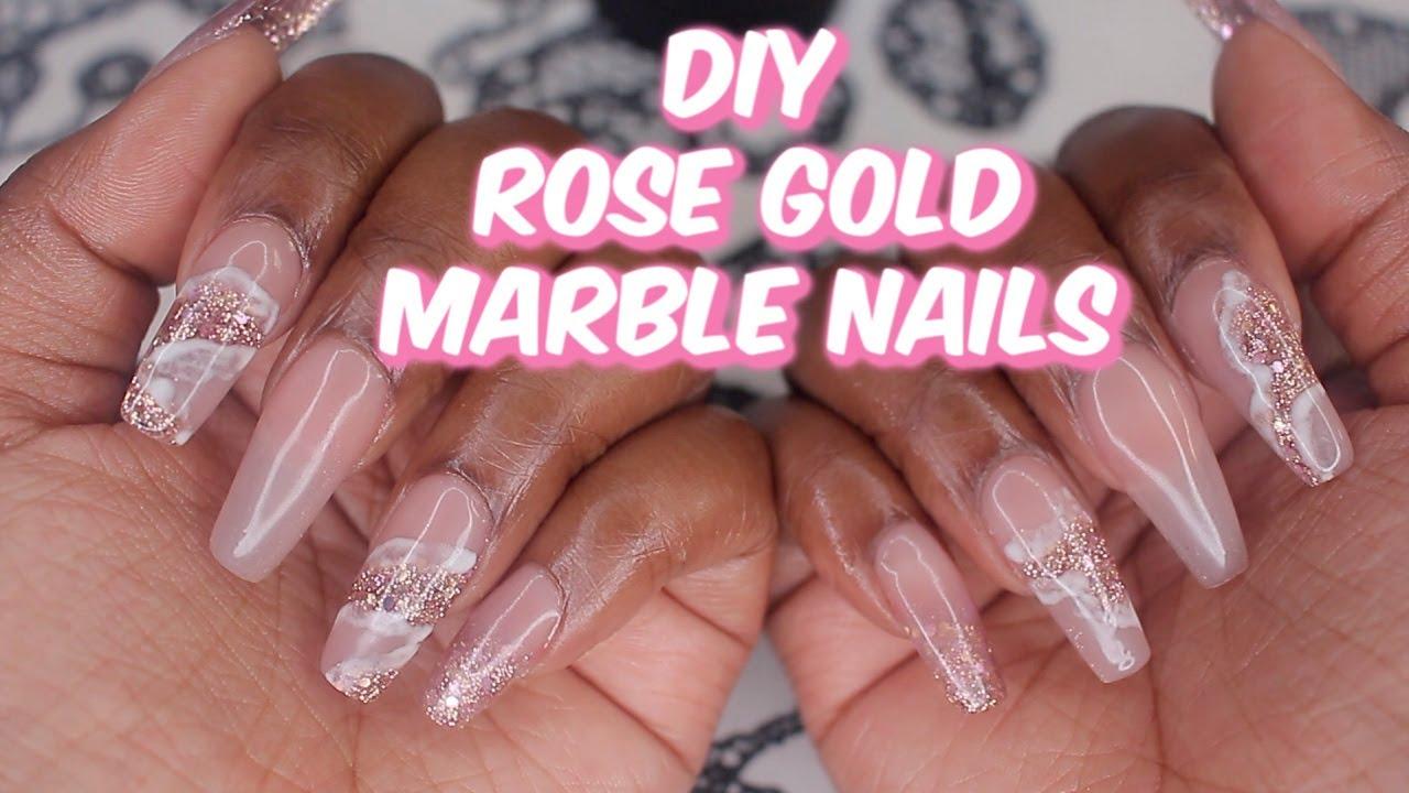 DIY ROSE GOLD MARBLE NAILS | CELEBEAUTI21