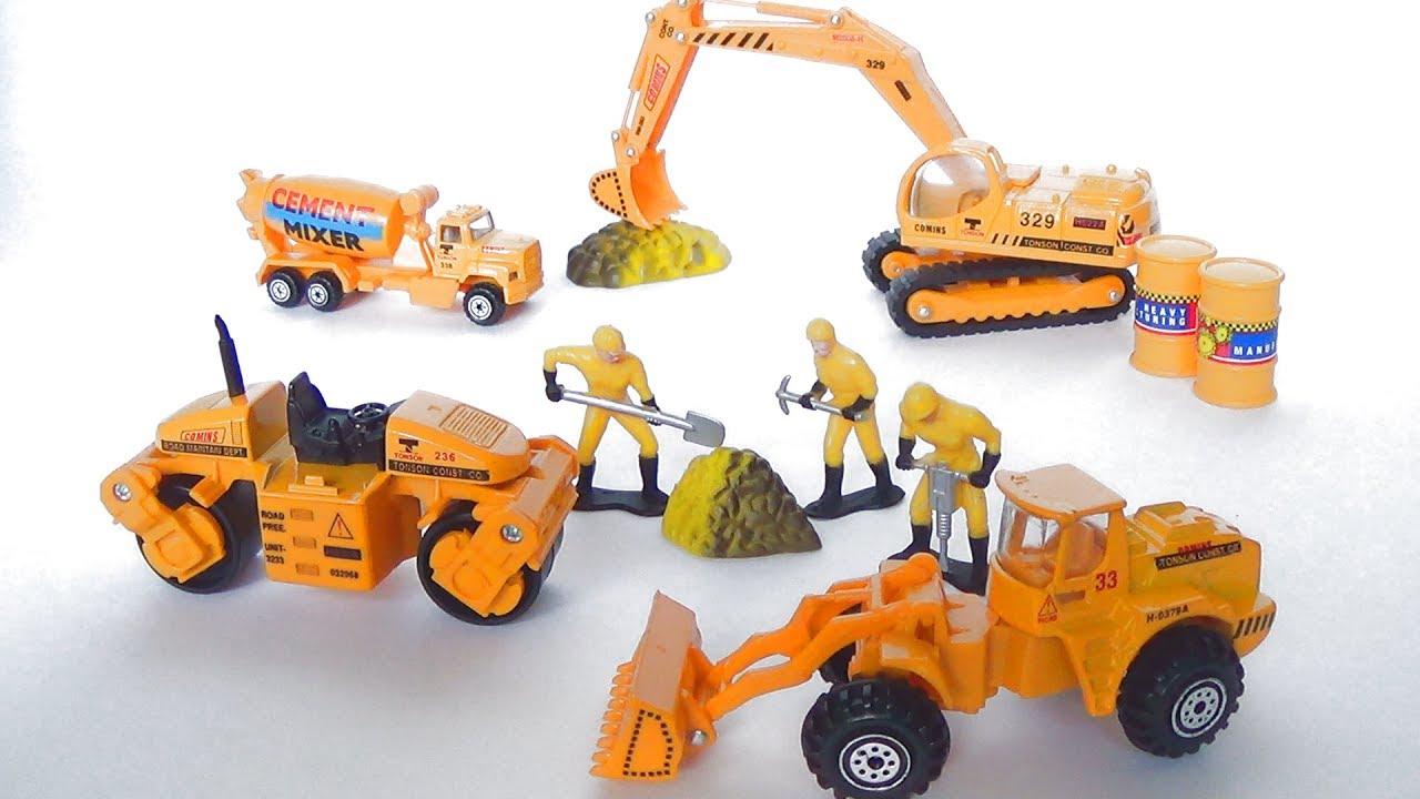 Транспорт для детей - строительная техника - трактор, бетономешалка, экскаватор, грейдер