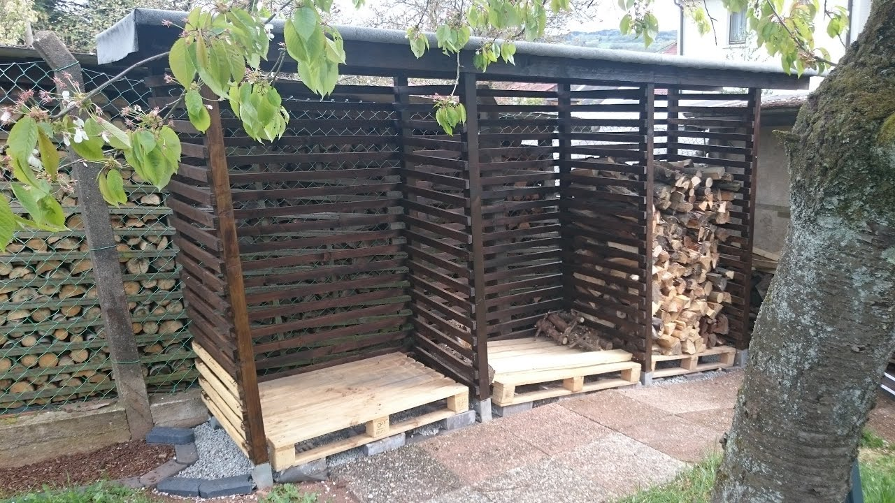 diy gardening brennholzunterstand f r unter 200 youtube. Black Bedroom Furniture Sets. Home Design Ideas