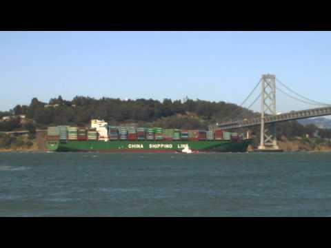 Bay Area Container Ship Spotting - XIN Hong Kong under Oakland Bay Bridge  June 19, 2013