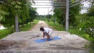 Yoga Transition (SK Durai) - Handstand (Adho Mukha Vrksasana) Dropping Down to Crow Pose ( Bakasana)