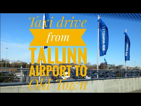 Taxi drive from Tallinn airport to Tallinn Old Town, Estonia