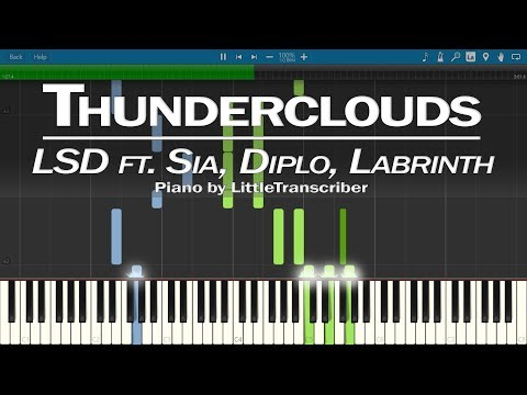LSD - Thunderclouds (Piano Cover) ft. Sia, Diplo, Labrinth Synthesia Tutorial by LittleTranscriber