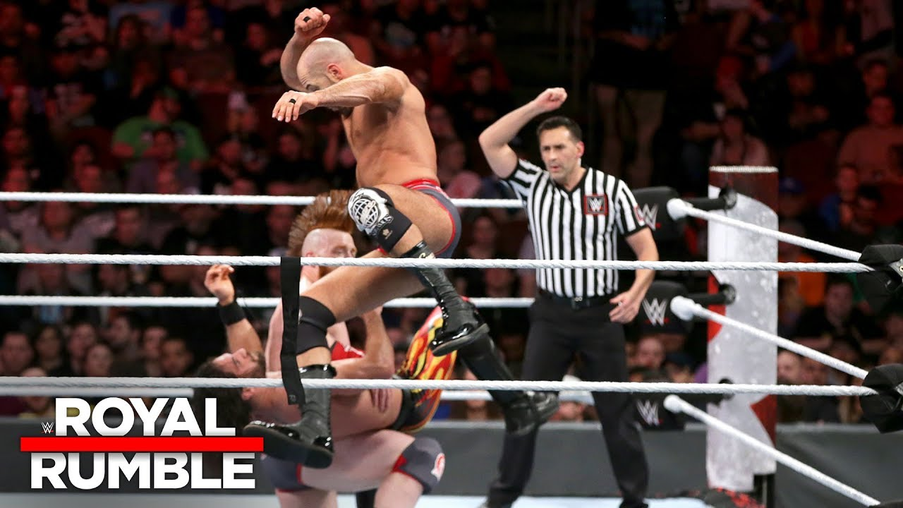 Cesaro & Sheamus launch a double-team assault on Seth Rollins: Royal Rumble 2018 (WWE Network)