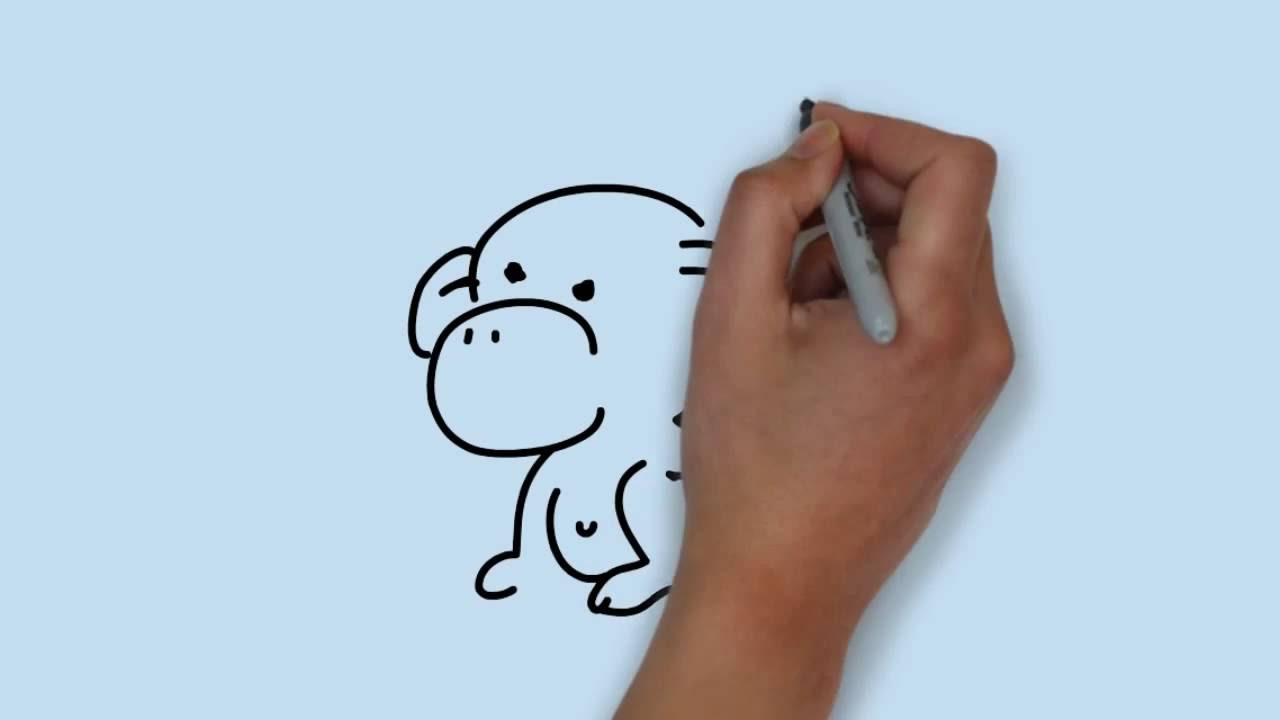 How To Draw A Monkey Cara Menggambar Monyet Youtube