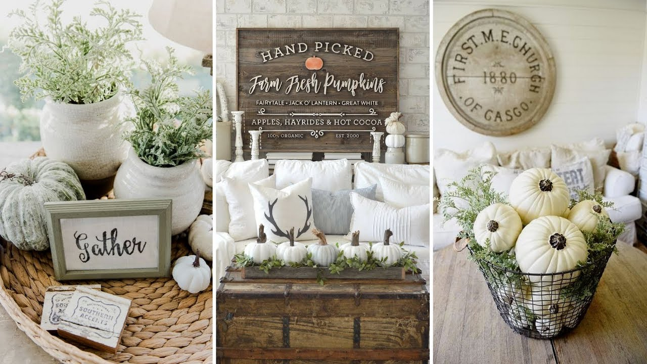DIY Rustic Farmhouse Style Fall Coffee Table Centerpiece Ideas
