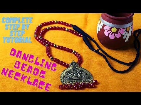 #Durga Puja 1: How To Make Beautiful Dangling Beads Oxidised Necklace|| Ananya  Mondal