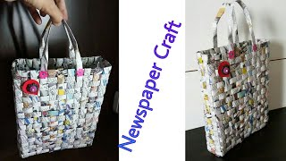 How to make paper bag with Newspaper ll Paper bag ll Best out of Waste ll Newspaper craft idea