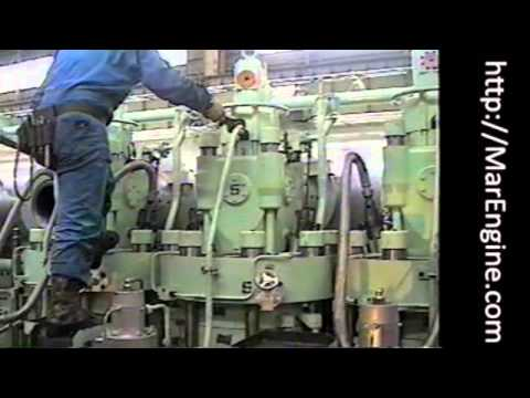 Diesel Engine Working >> MAN B&W S50MC cylinder cover dismantling - YouTube