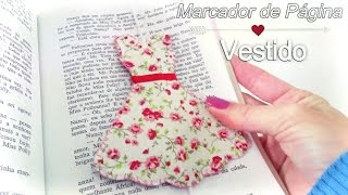 Marcador de Página Vestido de tecido – DIY Bookmark