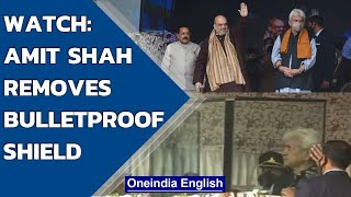 Amit Shah gets bulletproof shield removed on stage before addressing rally in Srinagar|Oneindia News