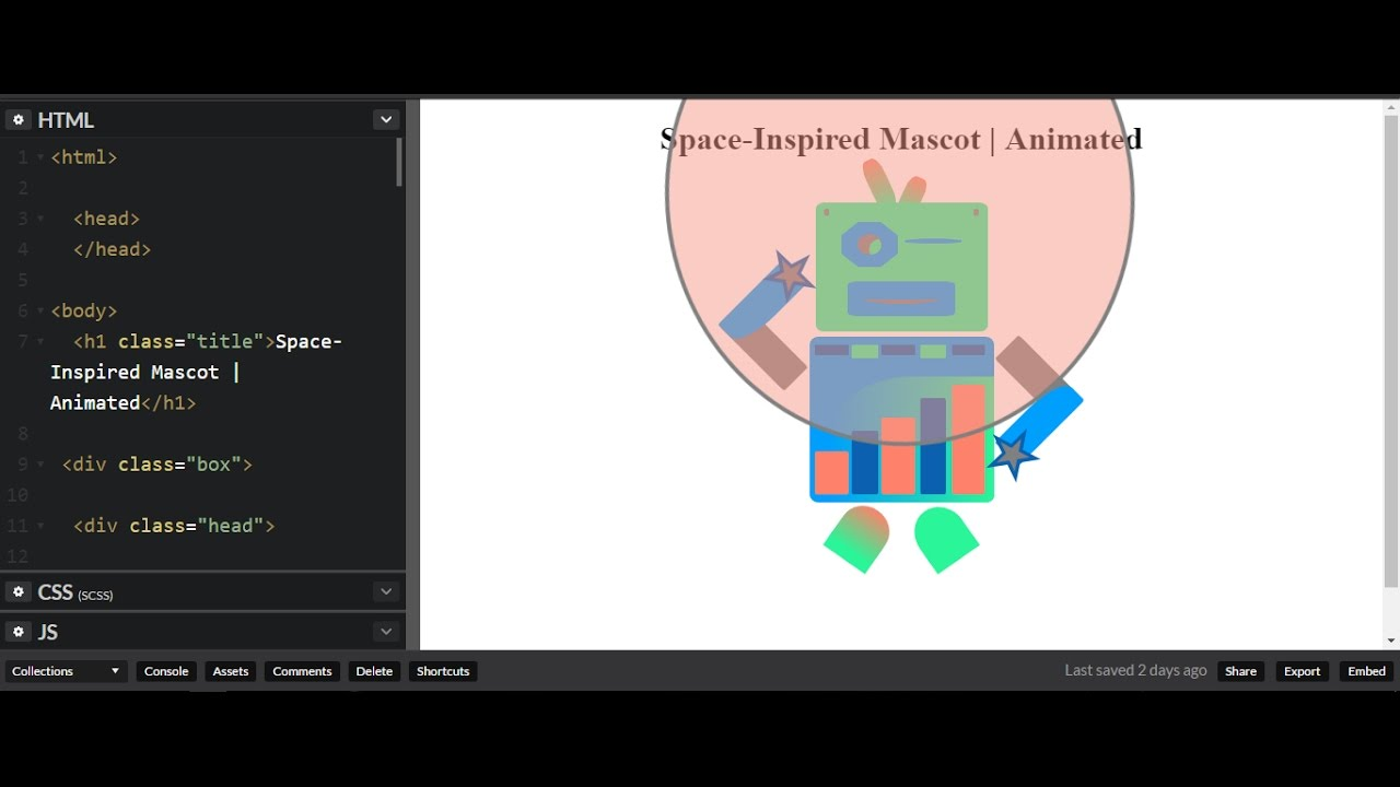 How to pure css that - Space mascot with Animation