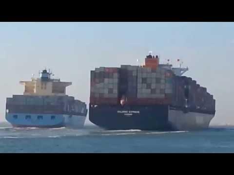 Collision entre deux bateaux porte-conteneurs dans le Canal de Suez