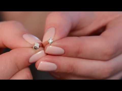 Серьги пусеты из белого золота с бриллиантами ART OF GLOW