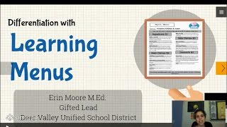 Resources and Extensions in the Gifted Cluster Classroom Learning Menu Lesson