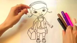 Доктор Плюшева  Раскраска Мультик  Doc Mcstuffins Coloring Cartoon
