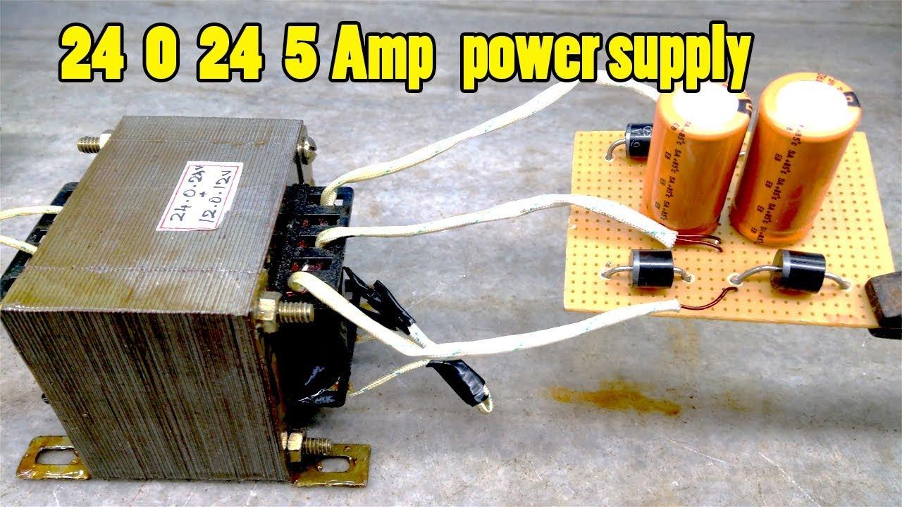 Diy Amplifier Power Supply 24 0 24 Power Supply Circuit Diagram Youtube