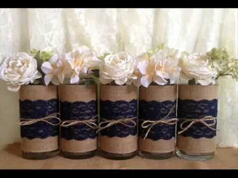 Rustic wedding mason jar vases candles burlap and lace centerpieces -  YouTube