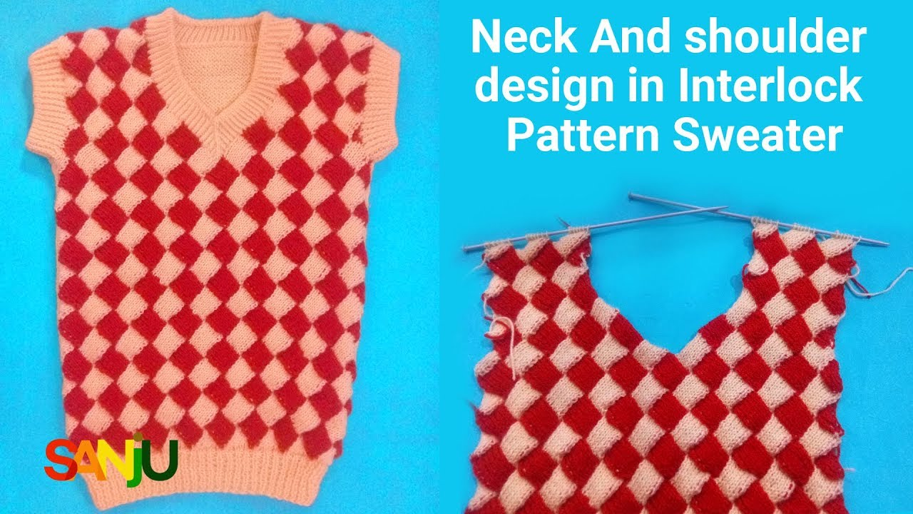 V Neck and shoulder design in Interlock sweater - YouTube