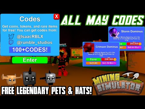 Mining Simulator:CODES MAY 2020! (ALL LEGENDARY CODES!) |Roblox
