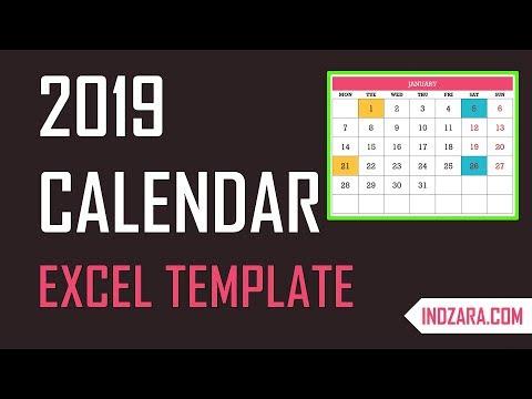 2019 Excel Calendar Template - Free Download