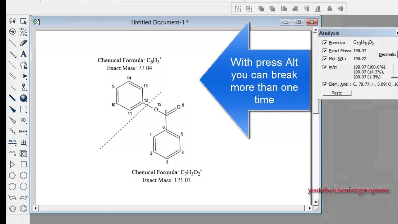 ChemDraw tutorial 14 Mass Fragmentation Tool