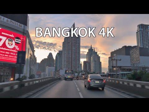 Bangkok 4K - Skyline Expressway Sunrise - Driving Downtown