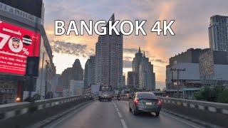 Bangkok 4K - Skyline Expressway Sunrise - Driving Downtown