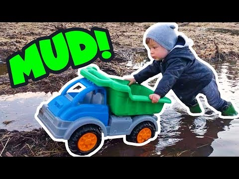 Outdoor mud adventures with toddler boy toys Toddler toy truck 🚙 Skip to my lou nursery rhyme songs