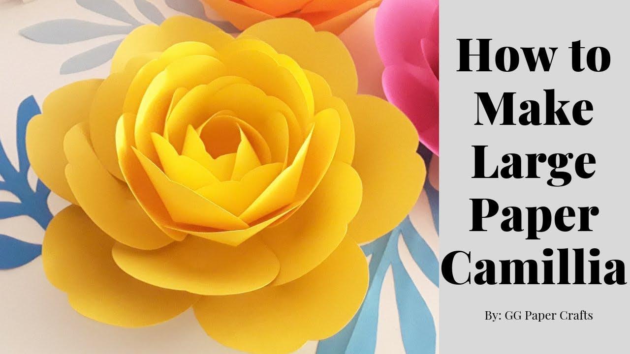 How To Make Large Paper Camillia Flower Measurements In Description