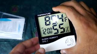 HTC 1 LCD Digital Thermometer Hygrometer - Temperature, Clock, Humidity
