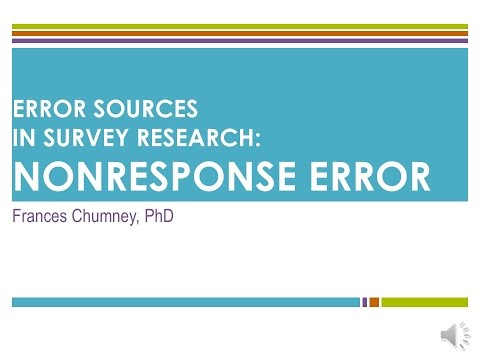 Introduction to Error Sources in Survey Research: Nonresponse Error