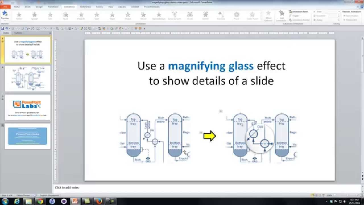 Powerpoint Use A Magnifying Glass Effect To Show Details Of A Slide
