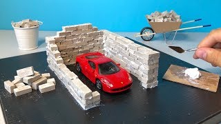 BRICKLAYING - How to Build a Brick Wall - Realistic Miniature Garage