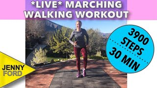 Live Marching Workout (Quick 30 Minutes) Exercise Walking at Home-No Equipment Required Beginner