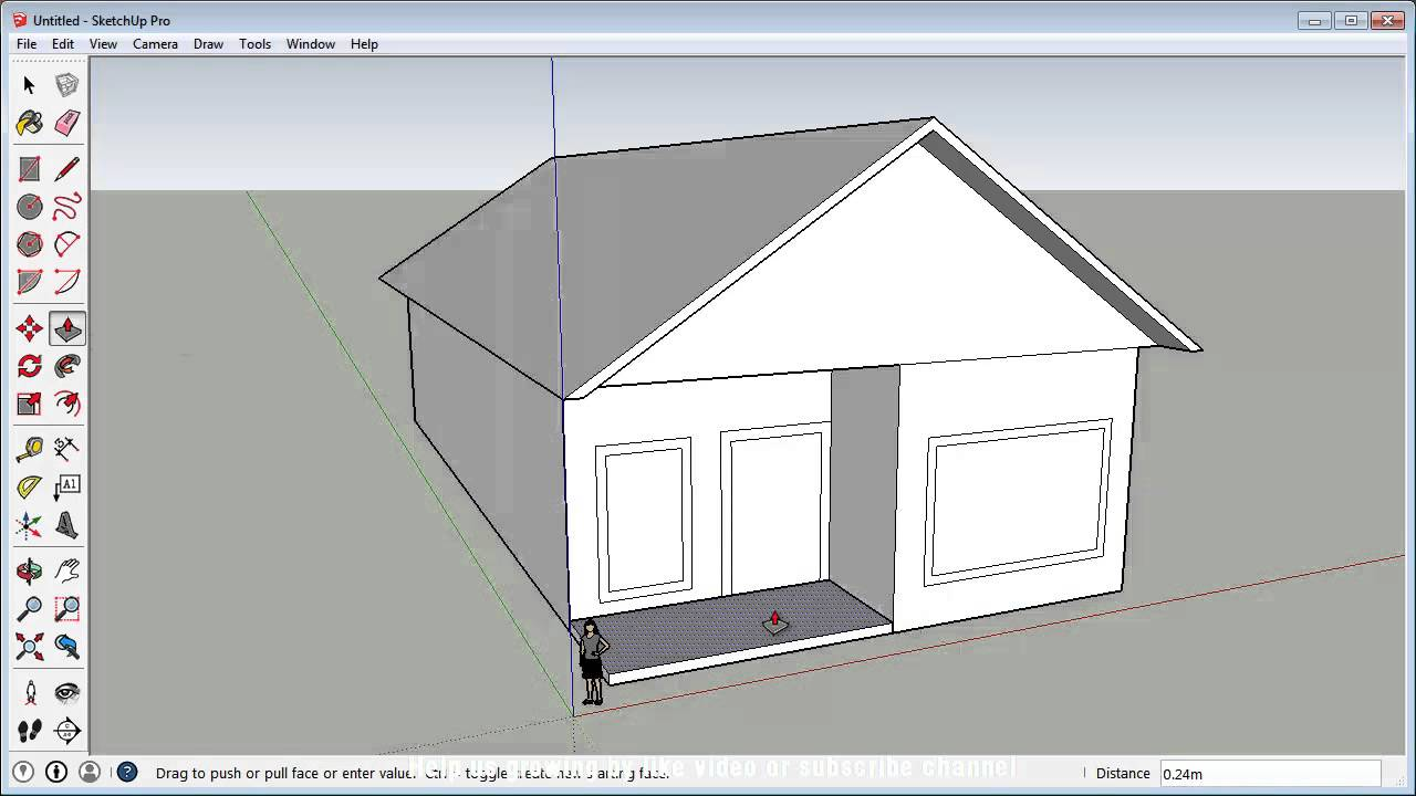 Sketchup fast 3d house tutorial basic youtube for Minimalist house sketchup