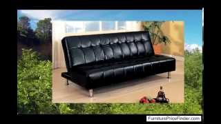 Coaster Contemporary Futon Sofa Bed With Metal Legs Black Vinyl