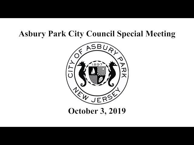 Asbury Park City Council Special Meeting - October 3, 2019