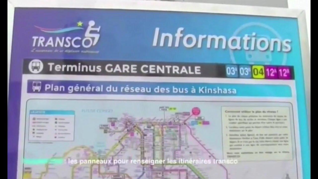 kinshasa des panneaux horaires avec itin raires pour les bus transco youtube. Black Bedroom Furniture Sets. Home Design Ideas